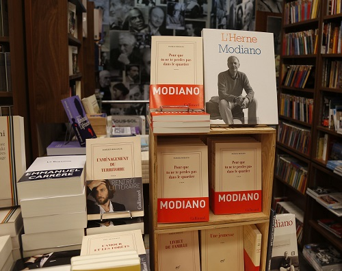 Books by French writer Patrick Modiano are displayed at the bookstore of French publishing house Gallimard in Paris